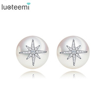 LUOTEEMI  New Fashion AAA Cubic Zirconia Star With Imitation Pearl Stud Earring For Women Wedding Birthday Party Brincos Bijoux