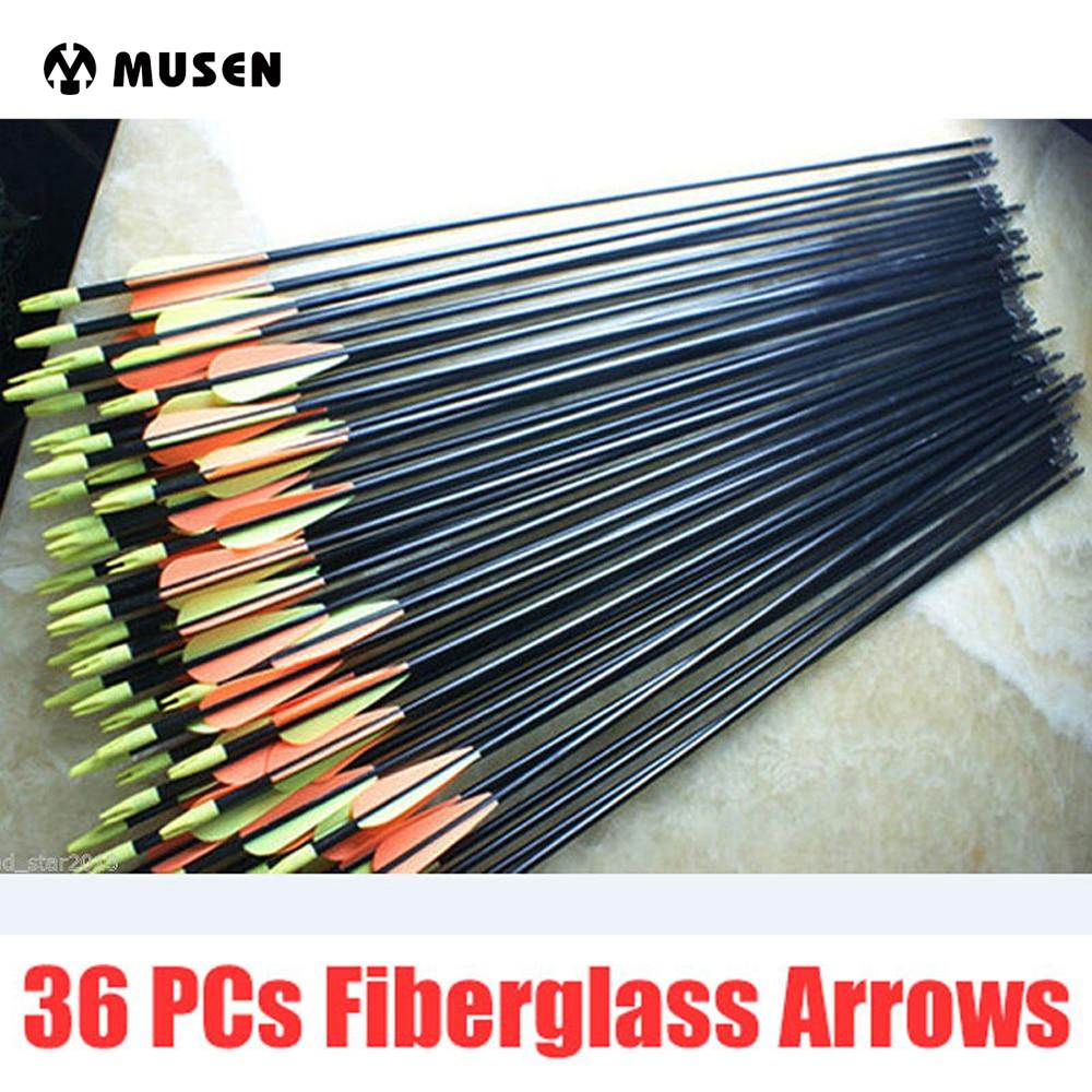 36pcs Set Spine 500 Target Practice Steel Point 30 inches Fiberglass Arrows 30 80lbs Archery Arrows