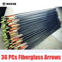 36 ピース/セット背骨 500 ターゲット練習鋼ポイント 30 インチグラスファイバー矢印 30-80lbs アーチェリー狩猟用の矢化合物弓