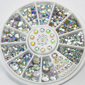 Hot 5 tamaños colores mezclados de acrílico Glitter piedras Salon Nail Art Stickers Tips de bricolaje decoraciones Studs con rueda 67U9