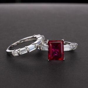 Image 3 - OEVAS 100% 925 en argent Sterling créé Moissanite princesse anneaux ensemble étincelant haute teneur en carbone diamant fête de mariage bijoux fins