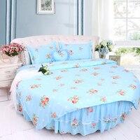 Super King Size Round Bedding Set 4pcs Green Blue Color Cotton Bedding Kit Princess Round Bed