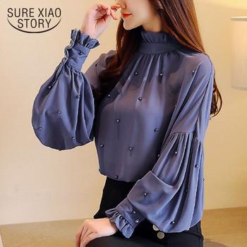 여성 블라우스 셔츠 2018 긴 소매 단색 단순 의류 새로운 패션 ol 여성 탑 구슬 인과 상위 여성 blusas 0781 30
