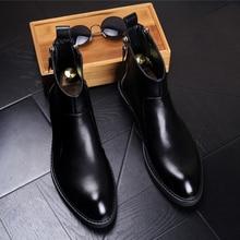 Kaeve 2017 Autumn/Winter MenS Chelsea Black Leather Short Boots Male Warm Shoe Zipper High Quality Ankle Men