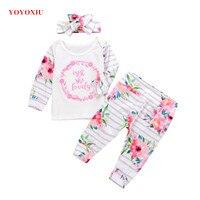 YOYOXIU 3 Parça Set Bebek Kız Giysileri Uzun Kollu Tops Bow Şapkalar Mektup Beyaz T-shirt Çiçekler Çizgili Pantolon Suits yenidoğanlar