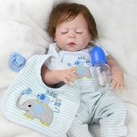 Reborn Babies Full Body Silicone Dolls 23 inch Baby Silicone Vinyl newborn Lifelike bathe sleeping boy reborn toddler dolls toys