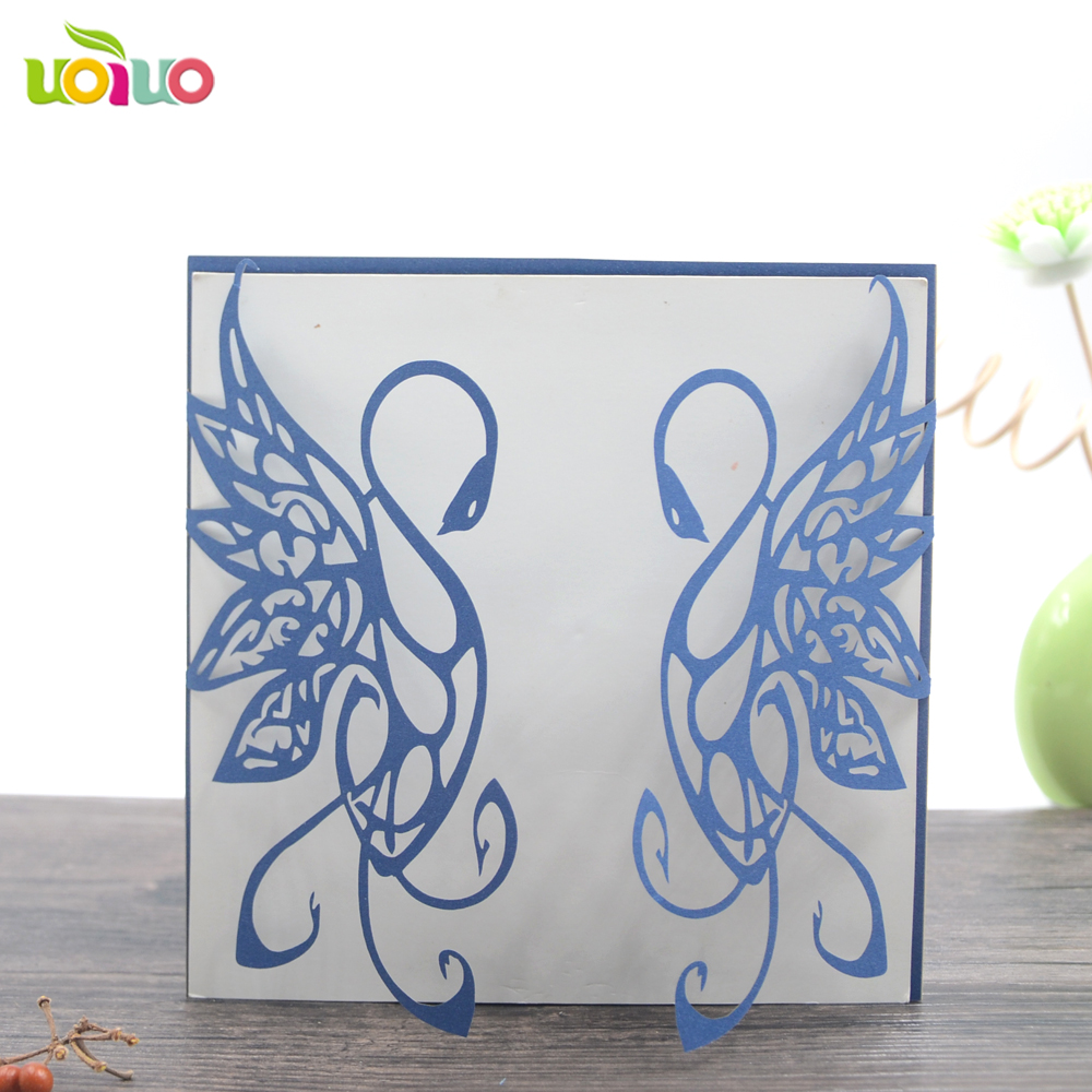 Romantic Love Swan Alibaba Wedding Card Wholesale Greeting Cards