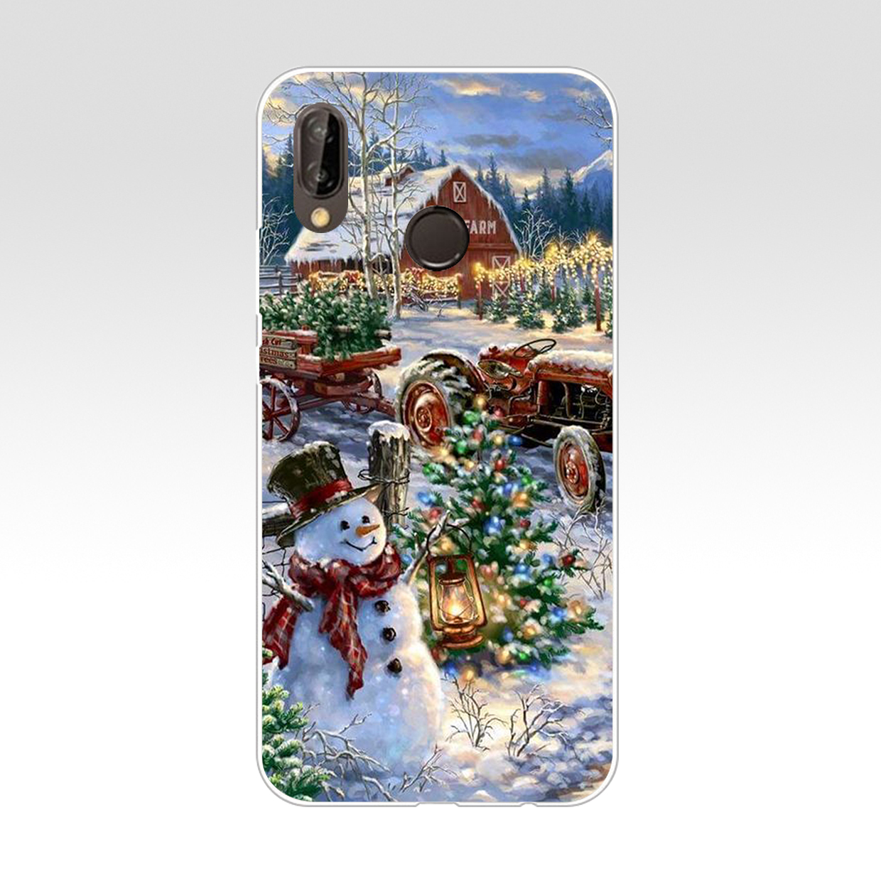 071AA Happy New Year Merry Christmas Flakes Hard Transparent Cover Case For Huawei P8 P20 Honor 9 Lite Mate 10 Pro Y6 Y5 2017
