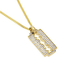 Hip Hop King Razor Blade Necklace Hip Hop Gold Color Mens Iced Out Rhinestone Pendant Necklace With Free Cuban Chain(China)