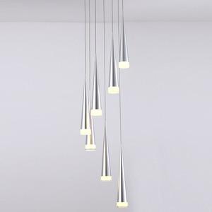 Image 2 - LED Stair Pendant Lights Modren Villa Indoor Lighting Hanglamp Shop Window Pendant Lamps 3/5/7/10/12/15 Heads Lamparas Luminaria