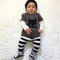 2017 roupas de bebê menino dos desenhos animados padrão Batman camiseta de manga Comprida + calças terno da criança do bebê conjunto roupa da menina recém-nascidos roupas