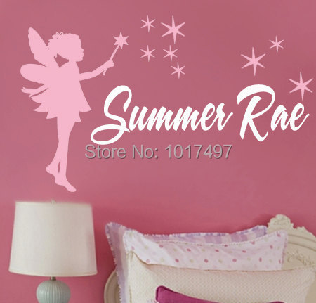 Tinker Bell Personalised Name Fairy Wall Decal With Stars Custom - Baby name wall decals