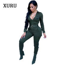XURU new hot-selling jumpsuit sexy hot fashion casual tight leg sportswear army green blue wine red winter trousers