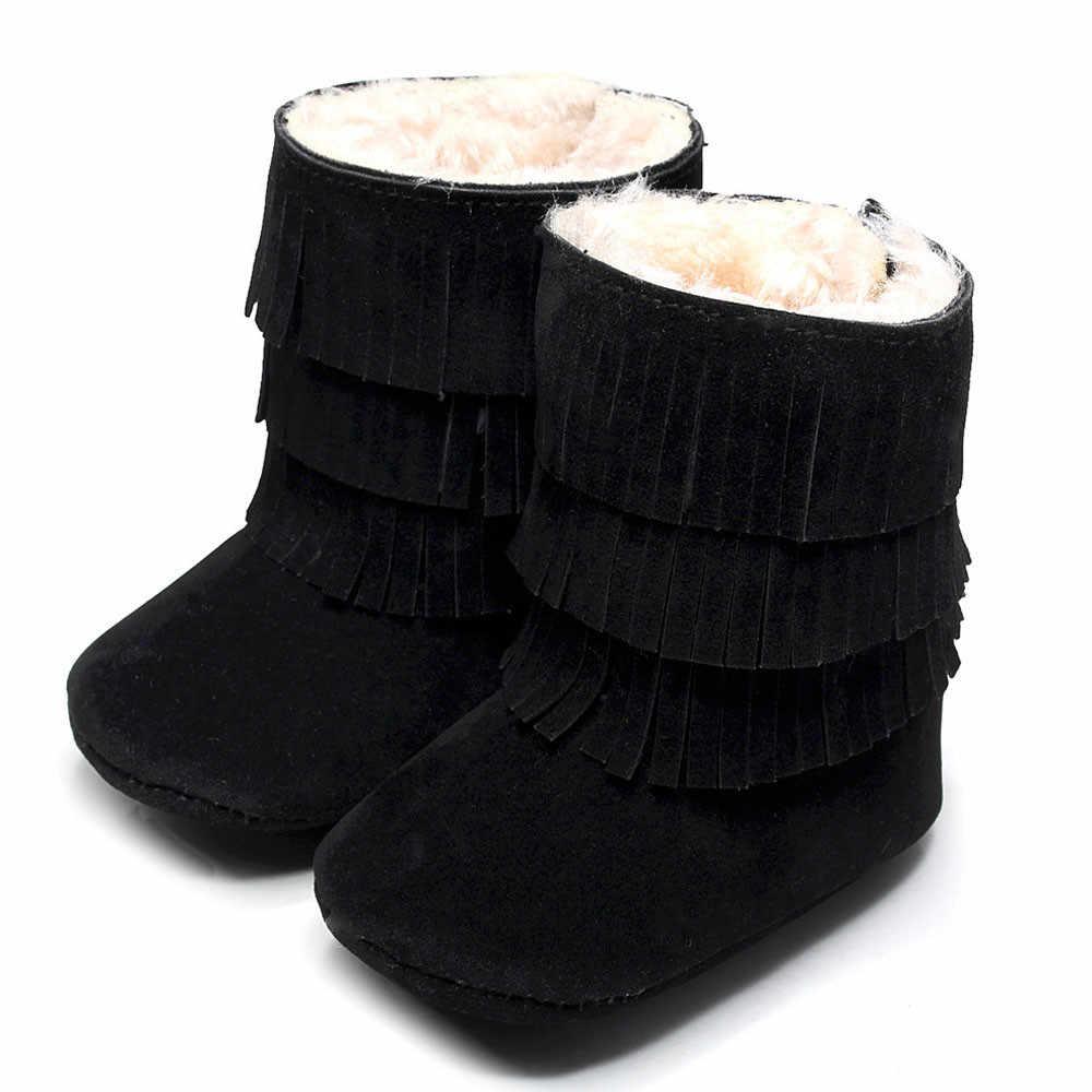 Обувь для детей, для маленьких девочек, сохраняющая тепло, двухслойные, с кисточками, мягкие зимние сапоги, мягкая обувь для малышей, черные, бесплатная доставка FEB27