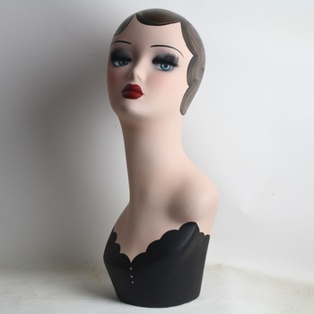 Vintage Hand Painted Mannequin Head Display For Wigs