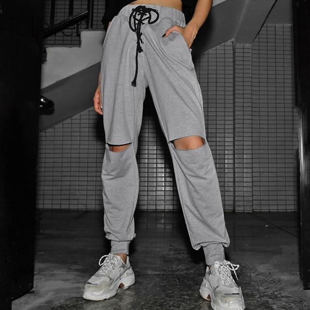 b6c94d097e8 2018 New Casual Gray Elastic Pants Women Hollow Out Bandage Pencil Pants  Female High Waist Long Pant Korean Sweatpants Talever