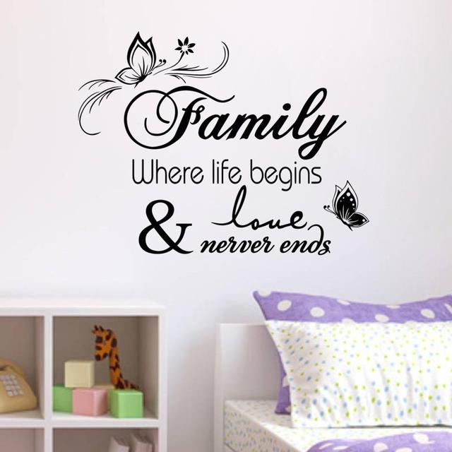 butterfly English Family Text Wall Stickers living room