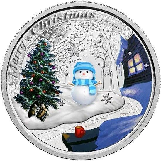Regalos de recuerdo de Navidad Snow Man moneda de plata 999,9 Chapado en plata Metal moneda arte adorno arte coleccionable para regalos