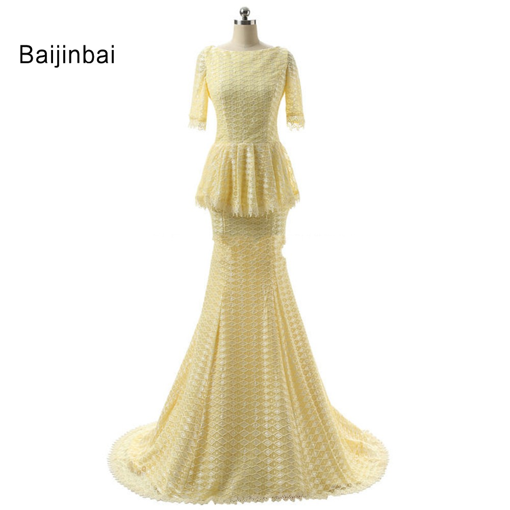 Baijinbai New Elegant Long Lace Mermaid font b Prom b font font b Dresses b font