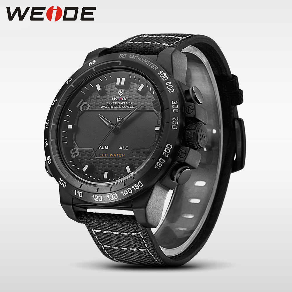 WEIDE genuine nylon watches mens watches brand luxury sport waterproof watch digital quartz automatic analog watch alarm clock weide genuine brand luxury men watch nylon sport digital black quartz relogios masculino watches large discs electronic clock