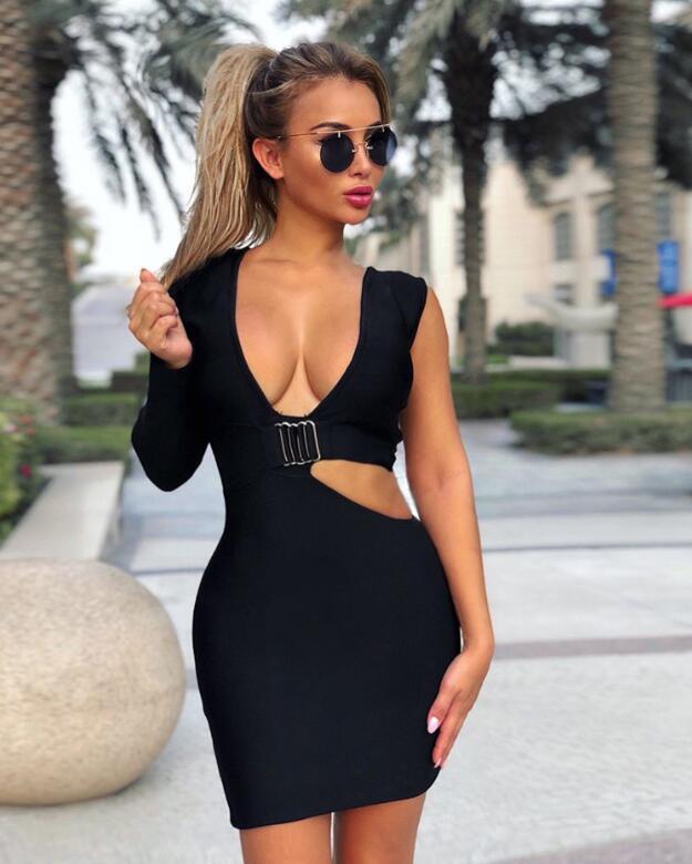 Kleid V Party Schwarz Sexy Womwn 08 Mini Verband C Rayon Eine Schulter ausschnitt Langermel Abend MzGqSVUp