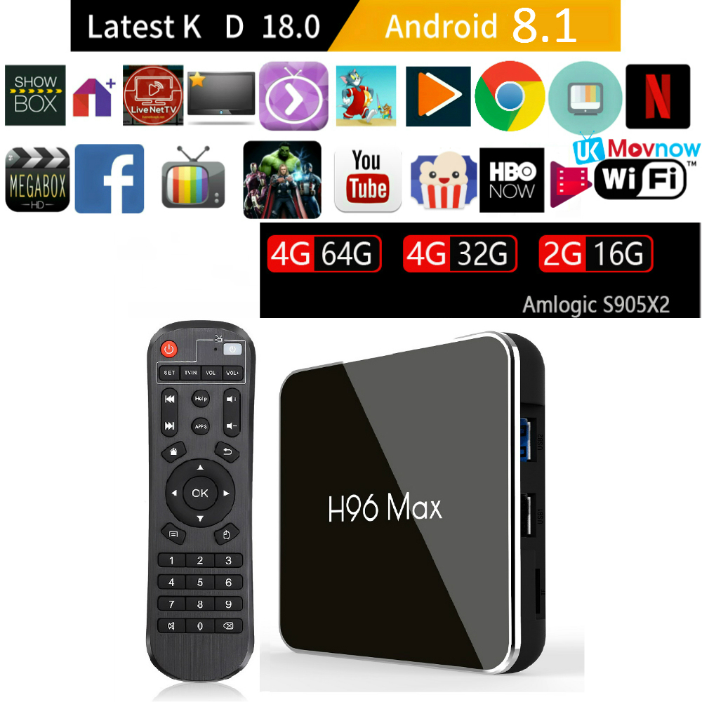 H96 MAX X2 Android TV BOX 2GB/16GB 4GB/32GB 4GB/64GB Android 8.1 Amlogic S905X2 USB 3.0 H.265 4K 2.4G/5G WiFi Smart Media PlayerH96 MAX X2 Android TV BOX 2GB/16GB 4GB/32GB 4GB/64GB Android 8.1 Amlogic S905X2 USB 3.0 H.265 4K 2.4G/5G WiFi Smart Media Player