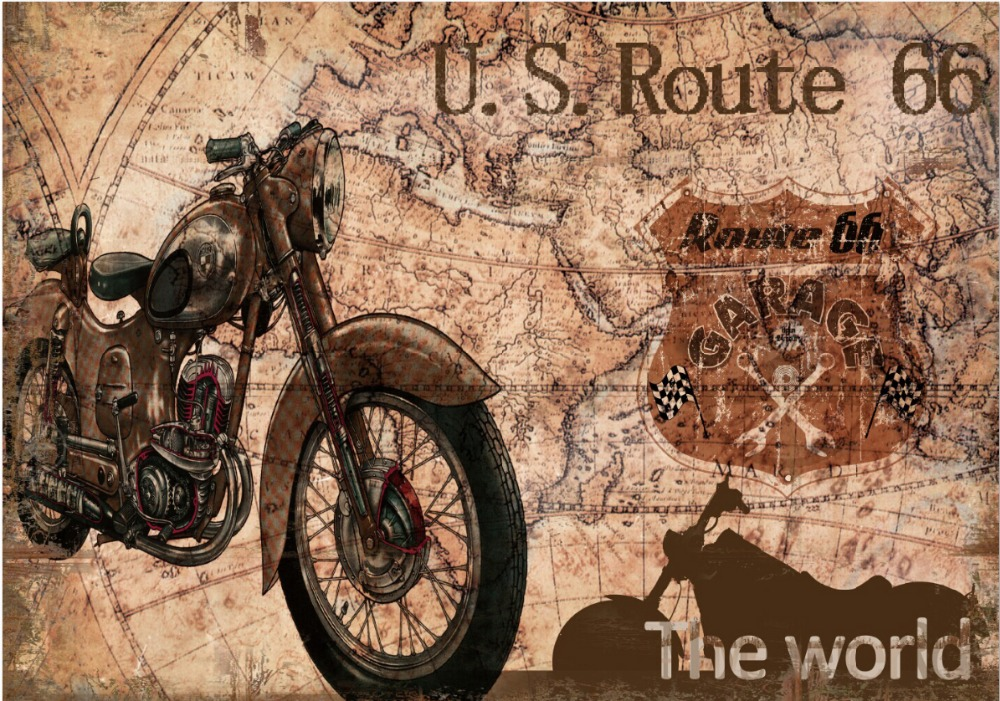 7x5ft Vintage Retro Motorcycle Motor Us Route 66 Map