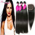 7A Indian Straight Hair With Closure 3 Bundles Indian Virgin Hair With Lace Closure Raw Indian Hair Weft With Closure Human Hair