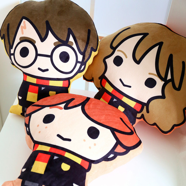 36 Cm Q Version De Harry Potter Hermione Ron Imprime Oreiller En