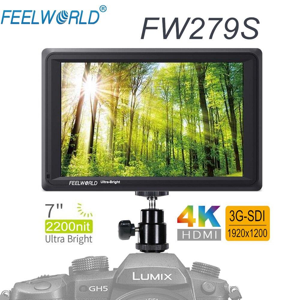 FEELWORLD FW279S 7 Pouces IPS 3G-SDI 4 K HDMI DSLR Caméra moniteur de terrain 2200nit Ultra Lumineux FHD 1920X1200 écran vidéo ajouter Support