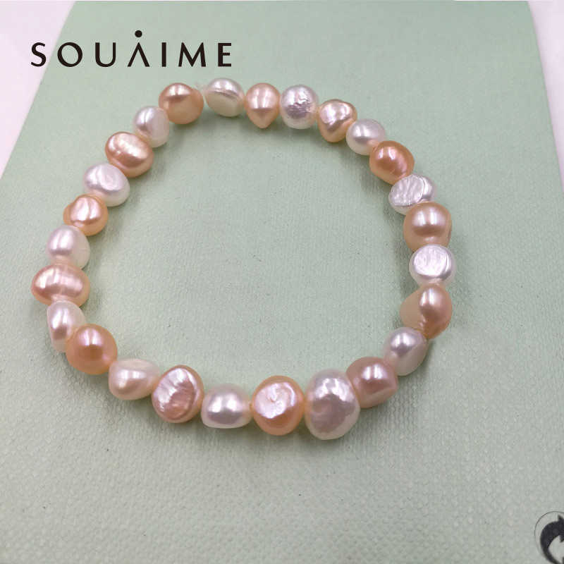 Hot Sale 100% Natural Pearl Charms Bracelet Elastic Rope White Pearl Bracelet 6 Color Real Pearl Gift For Girl Friend