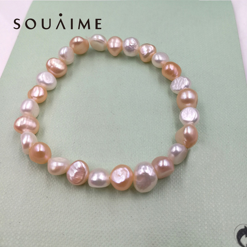 Hot Sale 100% Natural Pearl Charms Armband Elastisk Rope White Pearl ... 050dec88bf147