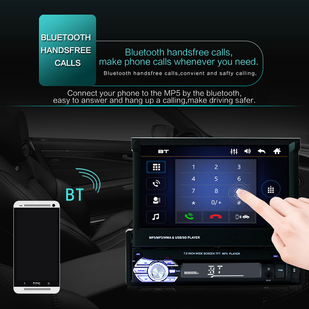 """Image 4 - 9601 7"""" HD Touch Screen Universal Car Bluetooth MP4 MP5 Player Navigation FM Radio U Disk/AUX/SD Card Playback Rearview Mirror-in Car MP4 & MP5 Players from Automobiles & Motorcycles"""