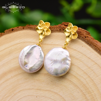 55654c7489ae GLSEEVO Natural barroca plana perla flor pendientes para mujer Plata de Ley  925 pendientes de joyería fina GE0644