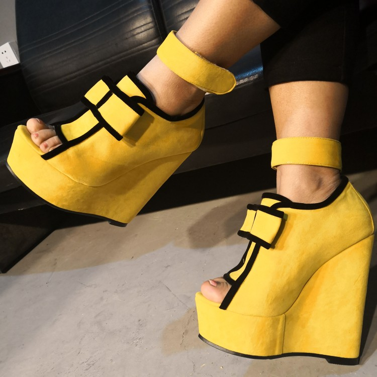 cf88b33a44 Olomm New Women Platform Sandals Sexy Wedges High Heels Shoes Peep Toe  Charm Yellow Dress Party Shoes Women US Plus Size 5-15