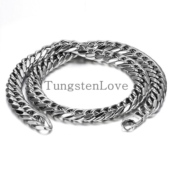 Durable 12mm Wide Heavy Large Big Men Stainless Steel Necklace Chunky Link Chain 24 Inch, Colour Silver(with Gift Bag)