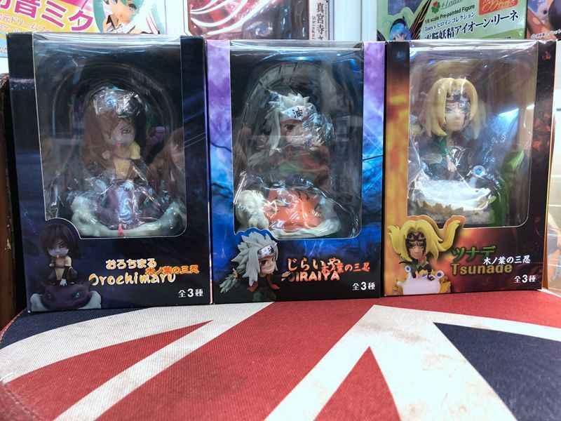 Anime Naruto Shippuden Jiraiya & Tsunade & Orochimaru com Animais Montagem PVC figura Brinquedos
