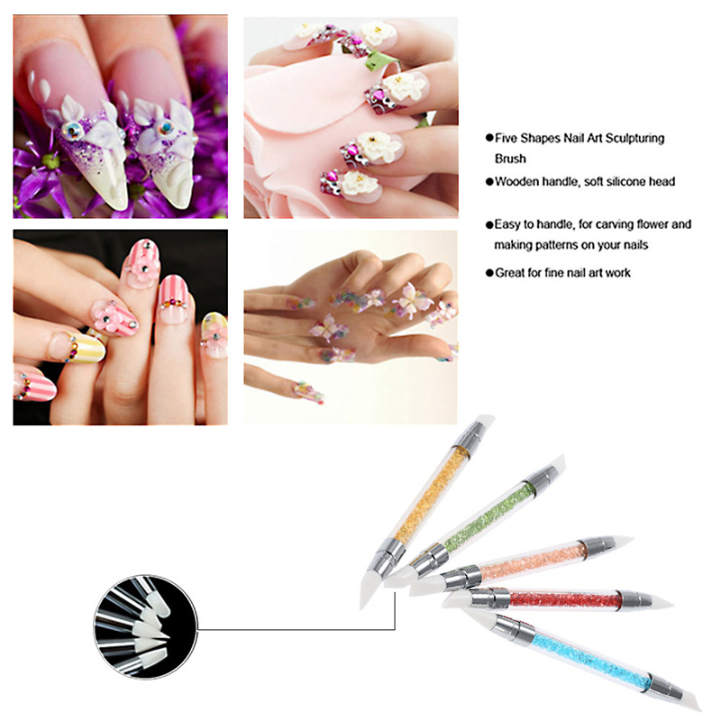 5pcs 2 way nail brushes set silicone rhinestone polish emboss 5pcs 2 way nail brushes set silicone rhinestone polish emboss carving drawing nail art sculpture pens manicure tools in dotting tools from beauty health prinsesfo Images