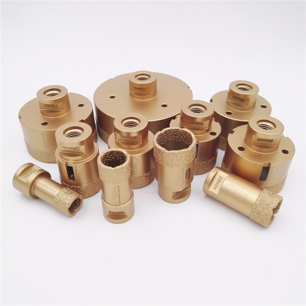 DIATOOL 1pc Diamond Vacuum Brazed Drilling Core Bits M14 Connection Drill Bits Hole Saw Diamond Height 15MM Dry/wet drilling