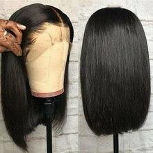 Ably krótki brazylijski Bob peruka prosto Bob koronkowa peruka na przód 150% 13x4 koronki przodu włosów ludzkich peruk dla kobiet Remy koronki przodu peruka