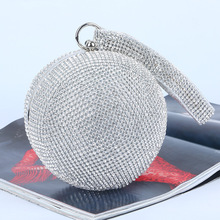 New High-grade Diamond Rhinestone Evening Bag Handmade Bag Spherical Wedding Handbags Luxury Retro Bling Banquet Bag for Women