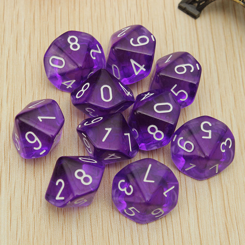 10pcs Transparent 10 Dice Die 10-Sided Gem Dice Set Multicolor D10 RPG Dungeons & Dragons Playing Games