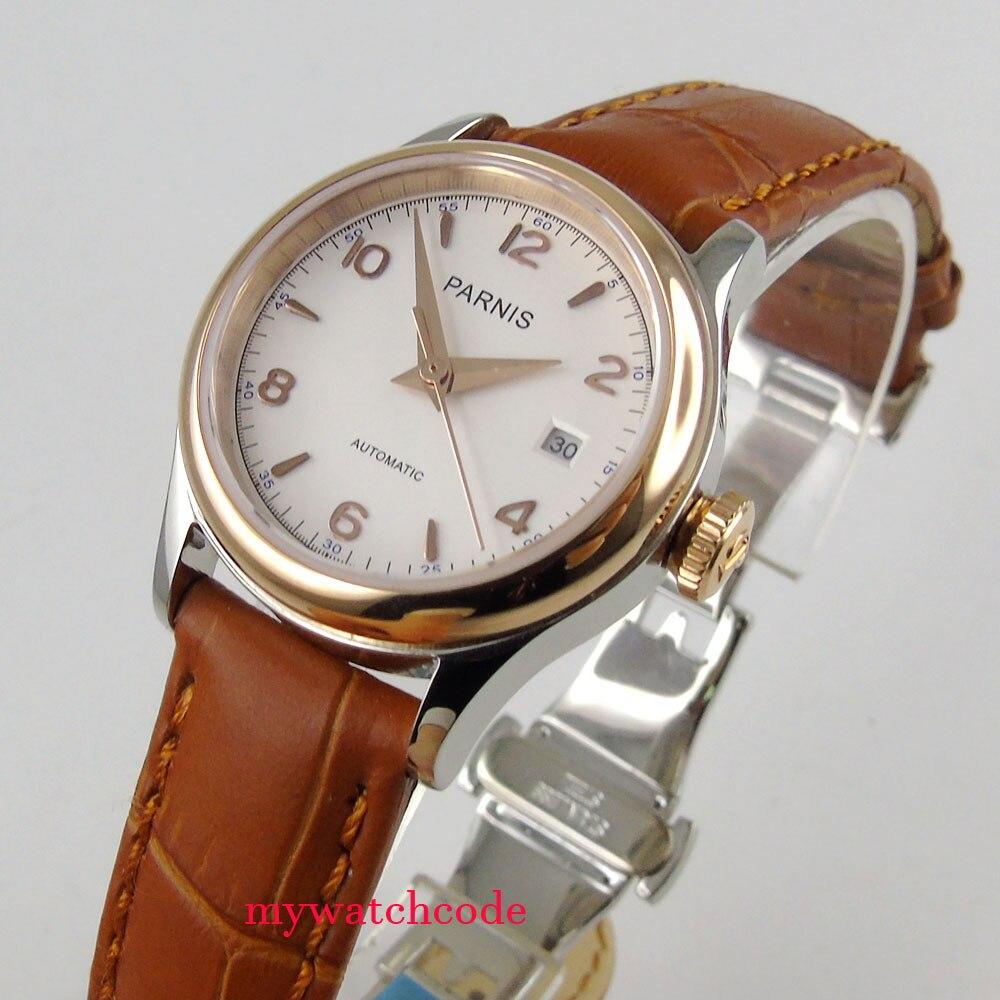 Saatler'ten Mekanik Saatler'de Lüks 26mm parnis beyaz kadran 21 jewels miyota otomatik bayan kadın saati'da  Grup 1
