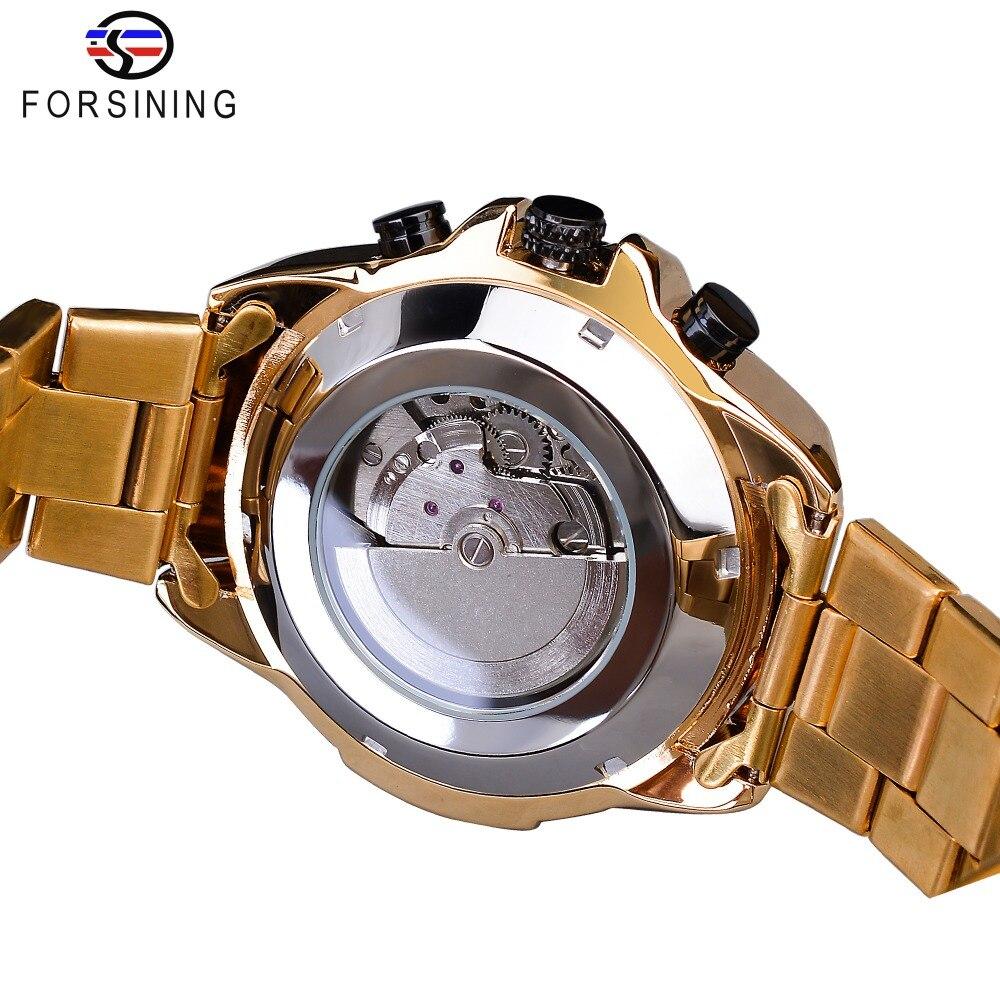Forsining Steampunk Sport série classique noir doré horloge mâle complet calendrier hommes montres automatiques Top marque de luxe - 4