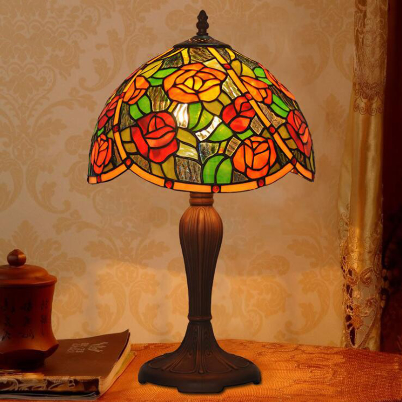 Retro Rustic Garden Stained Glass Plant Red Rose Metal Wedding Marriage Room Bedroom Gift Small LED Desk Table Lamp Decoration louis garden artificial flowers fake rose in picket fence pot pack small potted plant
