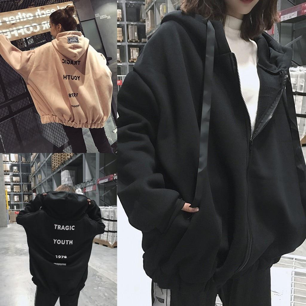 Black/Apricot Autumn Winter Women Oversized Hoodies Korean Letter Zipper Loose Hooded Sweatshirt Coat Fleece Warm Pullover Tops