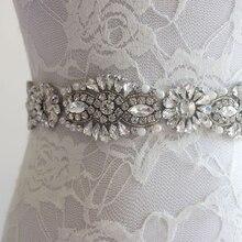 Doragrace חדש אופנה קריסטל חתונה חגורת פרל כלה חגורת Rhinestones אבנט ערב שמלות חגורת אבנט SPN008