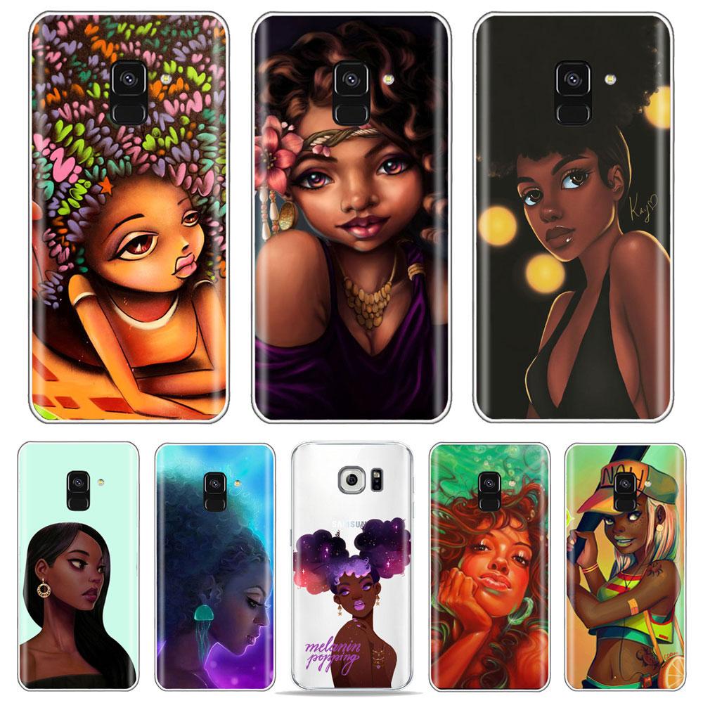 PUNQZY Afros siyah kadın saç sanat telefon kılıfı Samsung S10 artı/s6/S9/s8/s8 artı A50 A70 A30 S10 Melanin A6 2018 yumuşak TPU kılıf