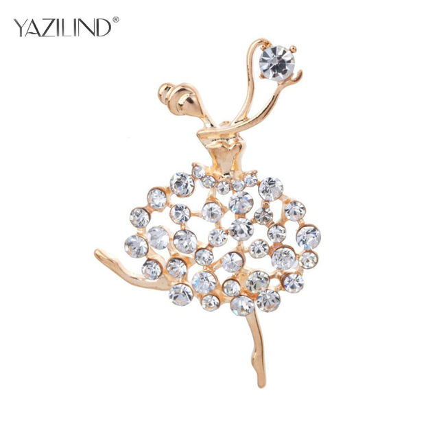 2017 New small fragrant wind scarf pin jeweled brooch Ballet dancing girl brooches for woman pin