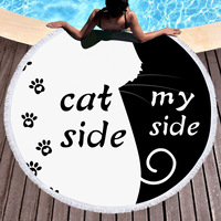 Summer Large Round Beach Towel dog CAT and MY Side for Adults Couples Microfiber Toalla Tassel Bath Towel Yoga Mat
